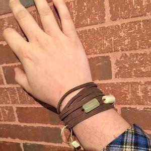 Artisan Leather Wrap Bracelet w Natural Stones NWT